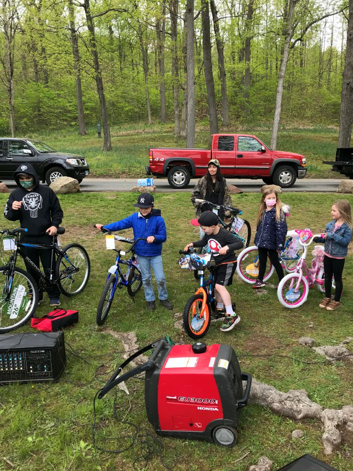 Division winners, left to right, Sammy Franco, Edwin Espinosa, Jack Fendt, Jocelyn Tkacz, Quinn Talento and Olivia Reunie collect their prize bicyles at last Saturday's City of Meriden, Meriden Rod & Gun Club Carl D'Addario Children's Fishing Derby at Hubbard Park. Photo courtesy of Mike Roberts