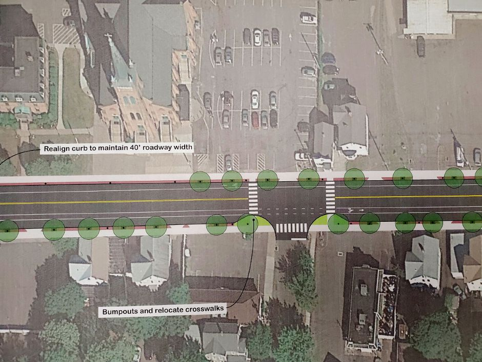 A map detailing changes being proposed to add bikes lanes and walkability improvements to North Colony Road in Wallingford. The proposal is the result of a study that was presented during a public hearing on Feb. 27, 2020. | Devin Leith-Yessian/Record-Journal