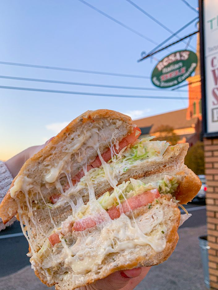 From Rosa's Deli – This Rosa's Deli sandwich contains breaded chicken cutlet, provolone, lettuce, tomato, and mayonnaise on a rosemary and olive oil ciabatta roll. |Lindsay Pytel, special to Record-Journal