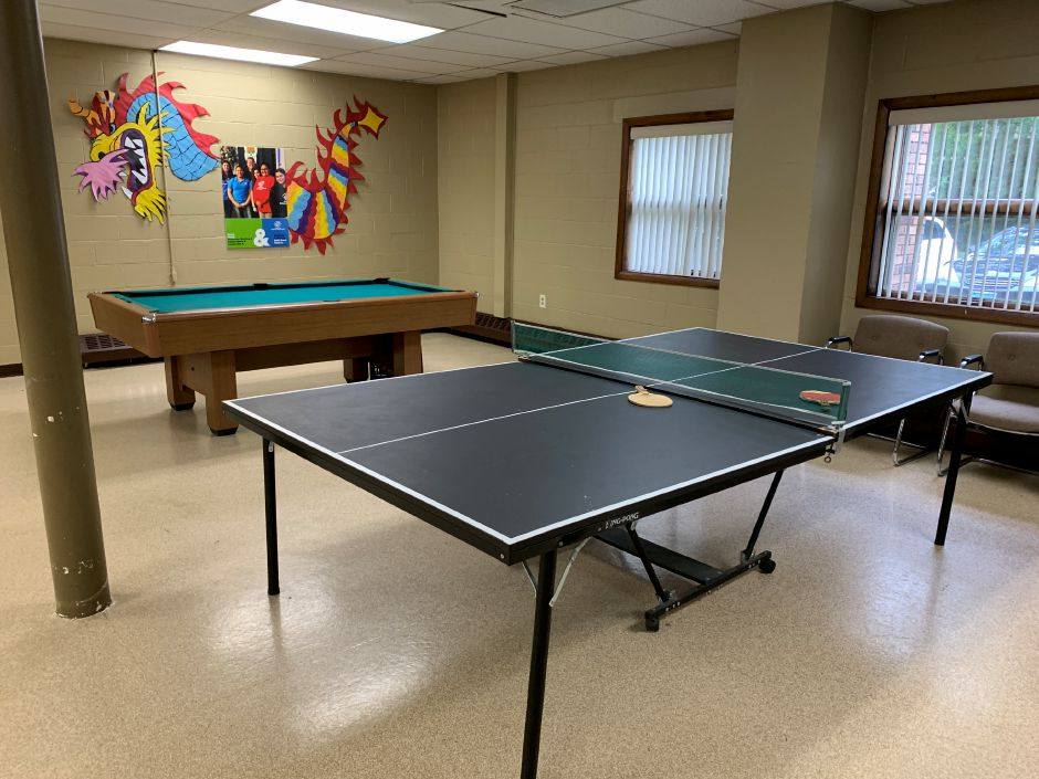 Pool and foosball tables were taken from the Wallingford club. The naming rights for this game room space will be given to the Tessa Marie Memorial Fund. Photo by Everett Bishop, North Haven Citizen.