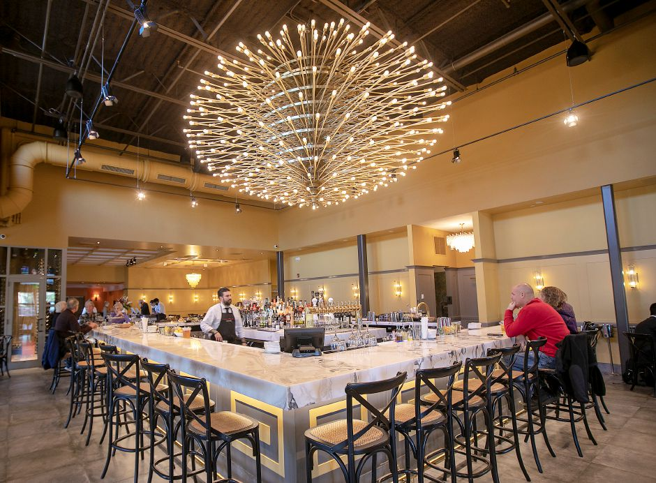 A new bar featuring a giant chandelier at the newly expanded Viron Rondo Osteria, 1721 Highland Ave., Cheshire, Nov. 13, 2019. Restaurant owner Viron Rondos acquired the chandelier through a dealer after it was taken down from a New York Film Academy theater in 2017. Dave Zajac, Record-Journal