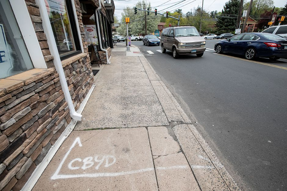 """Call Before You Dig"" markings on West Main Street in Plantsville."