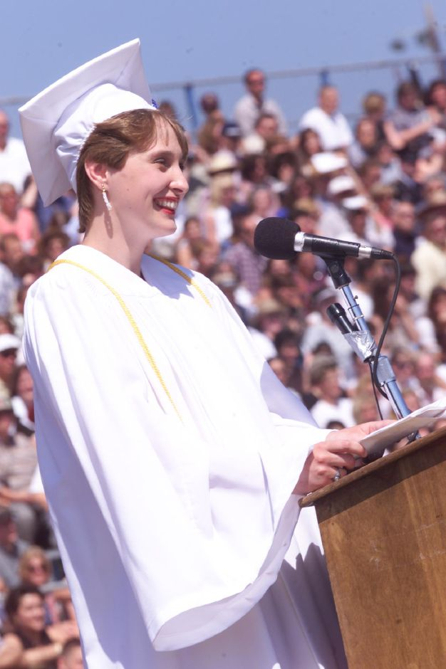 RJ file photo - Alexandra Smith, the Southington High School valedictorian, speaks to her class June 26, 1999.