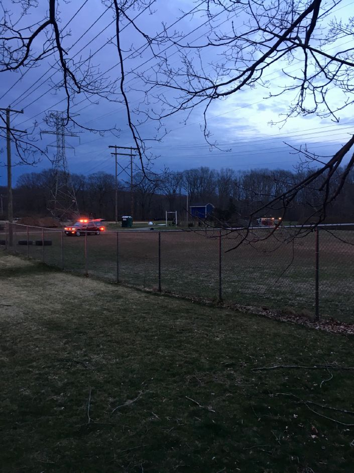 Emergency crews respond to a plane crash at Wilcox Technical High School in Meriden April 11, 2019. | Courtesy of Steven Heath