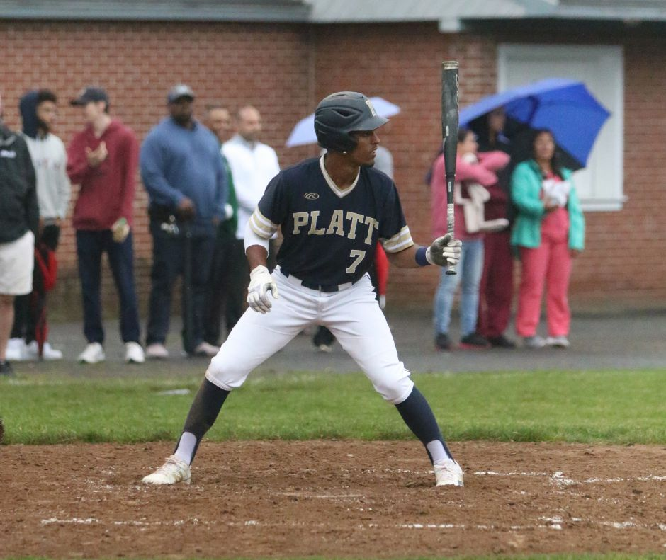 Platt leadoff hitter E.J. Dudley bears down at the plate Tuesday during Platt's Class L first-round state tournament game at Ceppa Field against Stratford. | Spencer Davis, Record Journal