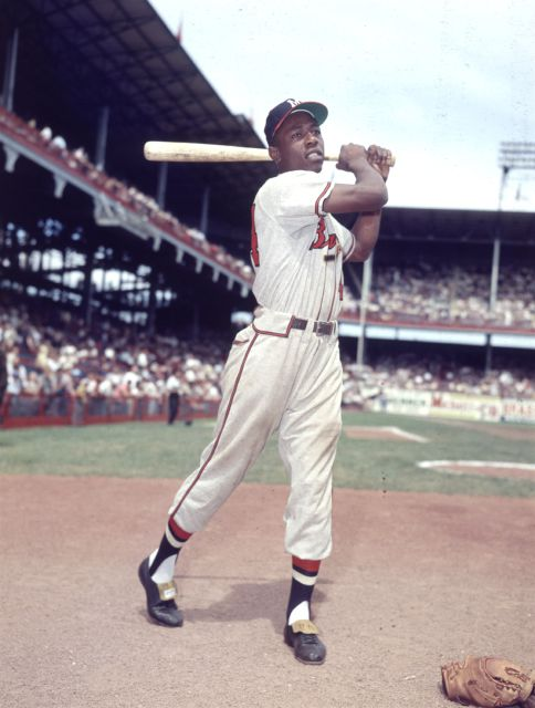 Hank Aaron, seen here in his rookie season of 1954 with the Milwaukee Braves. Associated Press