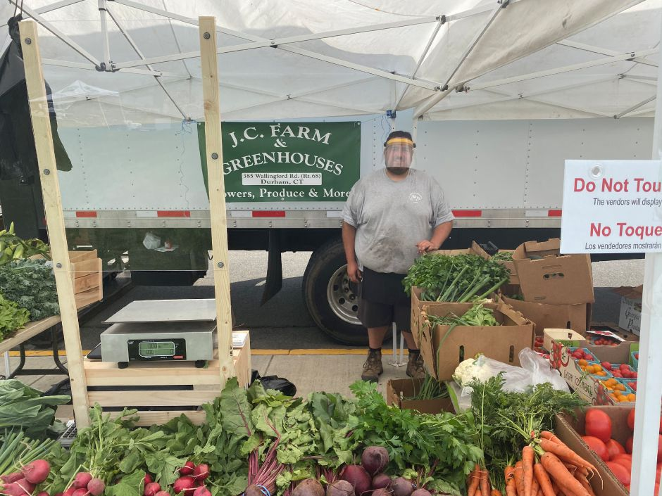 Alfonso Caturano, a co-owner of Durham's J.C. Farm has been a regular vendor at the Meriden Farmers Market. Caturano was one of seven vendors on Saturday.