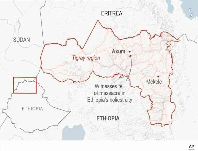 Map locates Axum, Ethiopia.