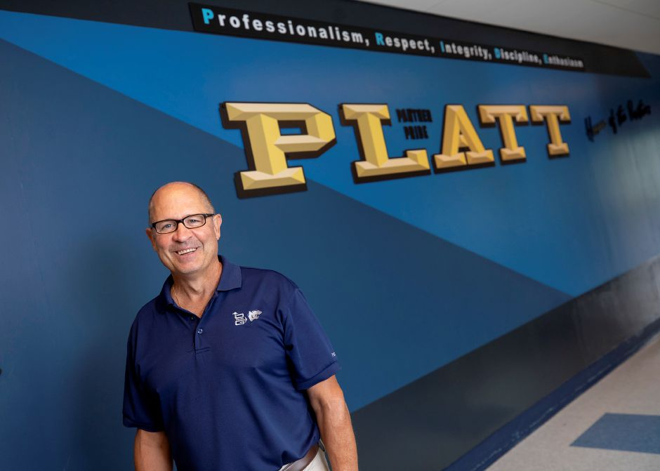 Principal Robert Montemurro at Platt High School in Meriden, Fri., Jul. 24, 2020. Montemurro is retiring this fall after years of leading the school. Dave Zajac, Record-Journal