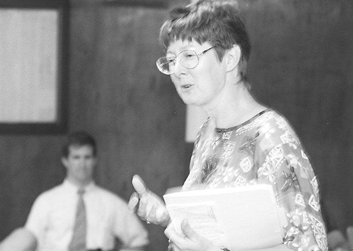 RJ file photo - Mary Mushinsky accepts the renomination for the 85th disctrict July 27, 1998.