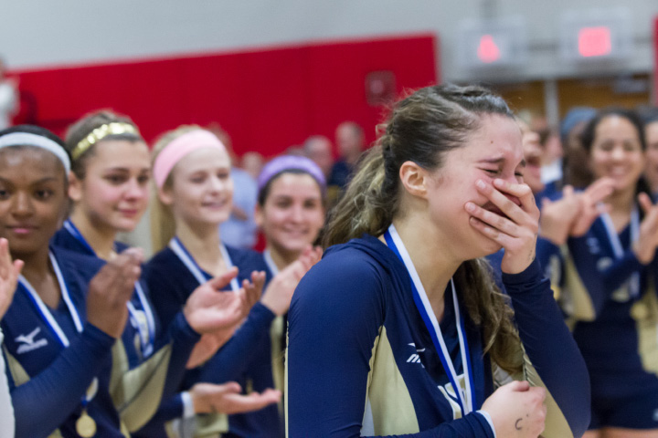 Platt's Gaby Vazquez reacts to her being chosen tournament MVP Saturday after winning the CIAC Class L final. | Justin Weekes / For the Record-Journal