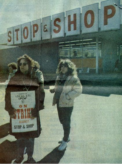 March 1988: Stop and Shop workers walk out on strike, an action that spanned 47 stores in Connecticut and western Massachusetts. Cashier Diane Maseychik stands along the picket line, along with more than a dozen fellow strikers, according to a Record-Journal story. | Record-Journal archive