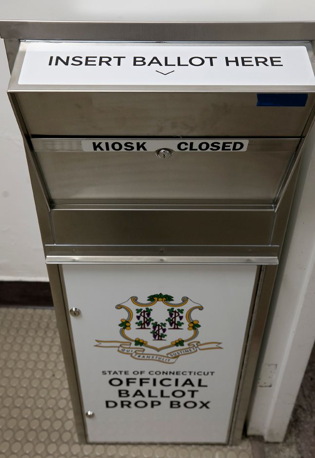 An official ballot drop box next to the Town Clerk office on the first floor of Wallingford Town Hall, Tues., Jul. 21, 2020. Dave Zajac, Record-Journal