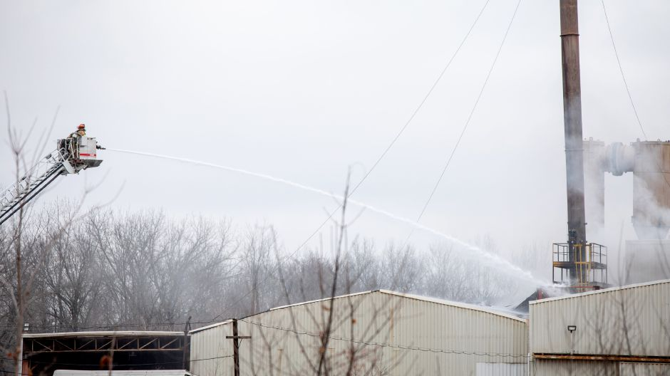 Firefighters responded to a fire on Dec. 31, 2019 at Clean Earth in Plainville, a soil treatment and recycling facility located at 58 N. Washington St. | Devin Leith-Yessian/Record-Journal