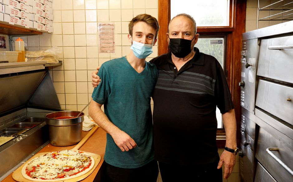 Pizza maker Alvaro Canie, left, and Ciro Pugliese, co-owner of Lido's Pizza Restaurant.