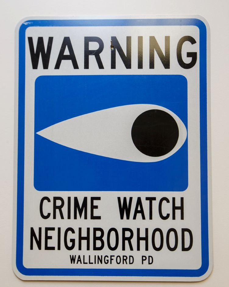 An example of the neighborhood watch sign paid for by the Wallingford Police Thursday at the Wallingford Police Station in Wallingford July 5, 2018 | Justin Weekes / Special to the Record-Journal