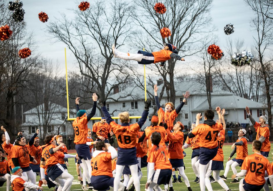 Lyman Hall powder puff cheerleader Brian Hernandez, 18, goes airborne during the halftime show at the annual Samaha Bowl at Lyman Hall High School, Wed., Nov. 27, 2019. Lyman Hall defeated Sheehan 22-14. Dave Zajac, Record-Journal