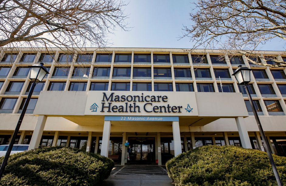 At left: Masonicare Health Center is seen here at 22 Masonic Ave. in Wallingford on March 10, 2021.