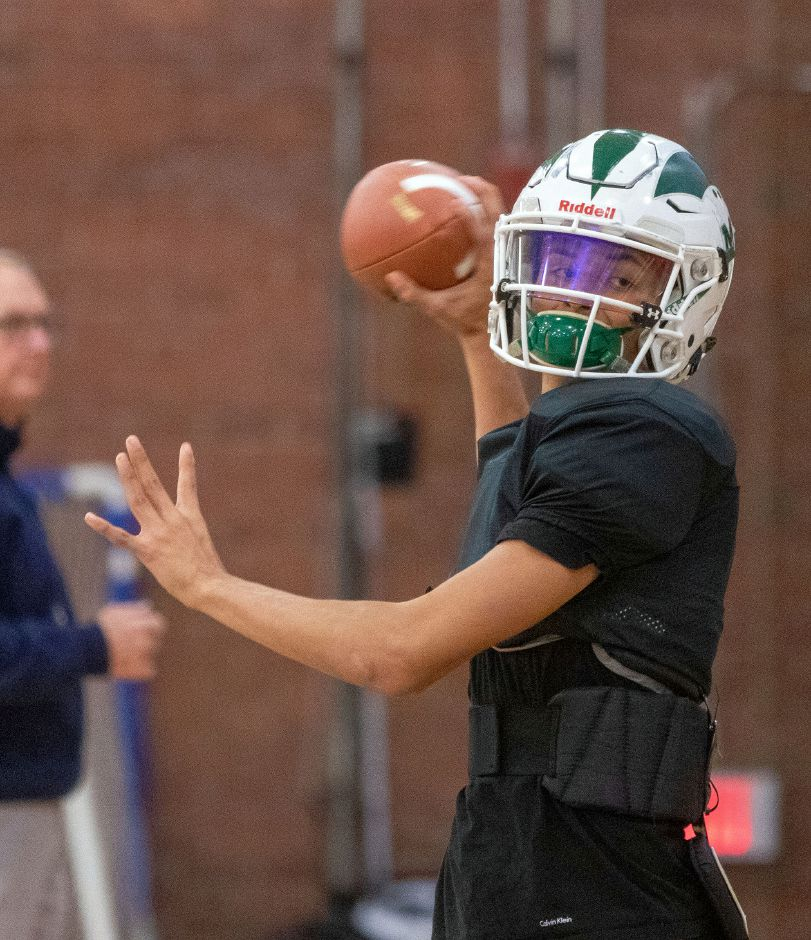 Maloney's quarterback Angel Arce during practice at Maloney High School on Monday, Dec. 2, 2019. Aaron Flaum, Record-Journal