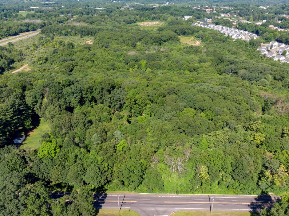 This large undeveloped Cheshire parcel  extends from Highland Avenue to Dickeman Road along Interstate 691.  File photo, Record-Journal