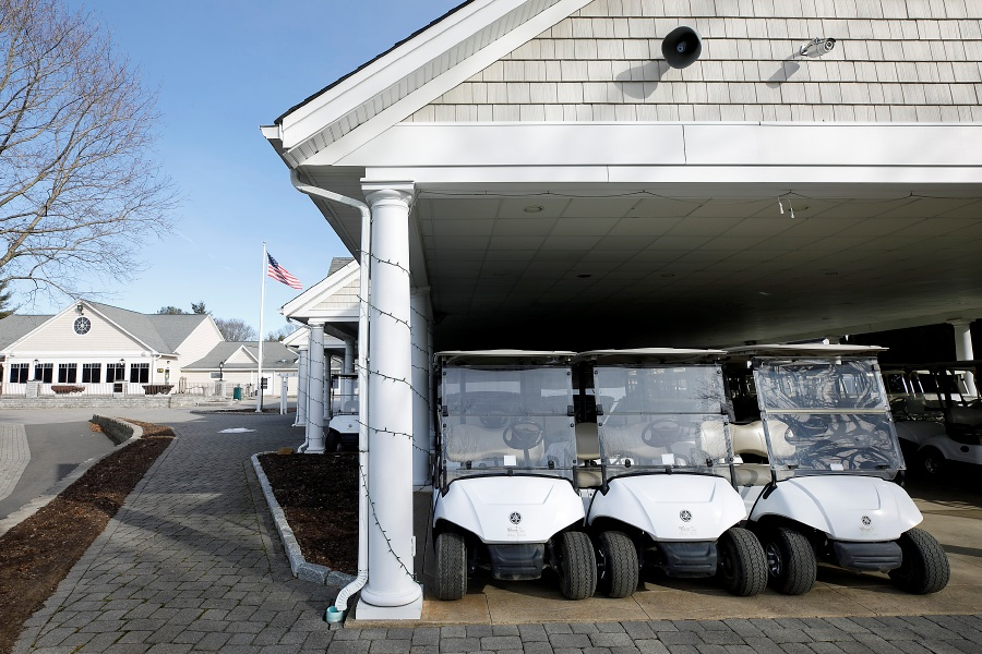 Carts parked under the pavilion at Southington Country Club, Mon., Jan. 25, 2021. Town officials are considering a development rights purchase for Southington Country Club, a $4.5 million deal that would prevent housing construction on the 90-acre golf course. Dave Zajac, Record-Journal