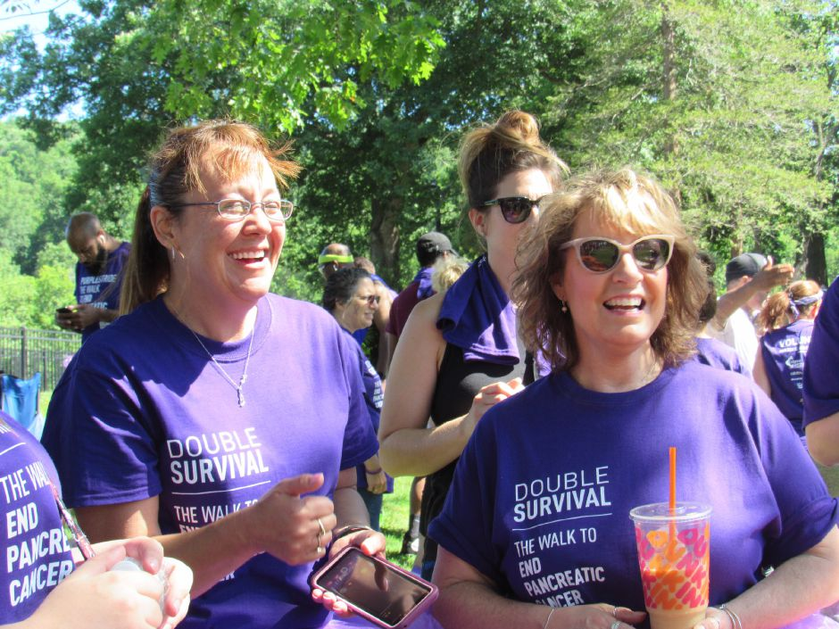 Christina Lincoln and Melody Decker at the Pancreatic Cancer Action Network's the Purple Stride walk in Hubbard Park. Saturday, June 15, 2019. | Jeniece Roman, Record-Journal