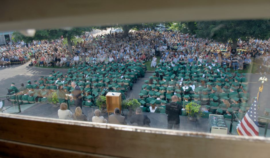 MERIDEN, Connecticut - Tuesday, June 17, 2008 - The Maloney High School graduating class of 2008 is shown from the upper floor of Francis T. Maloney High School during graduation exercises on Tuesday, June 17, 2008. Rob Beecher / Record-Journal