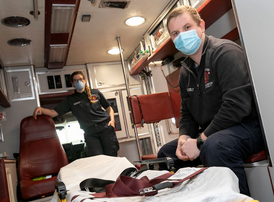 EMS Lt. William Hauselt, right, and EMT volunteer Kendall Bobula are seen in Ambulance 11 at North Farms Volunteer Fire Department Station 7 in Wallingford, Tues., Dec. 1, 2020. The fire department is hosting an emergency medical responder class next month aimed at recruiting new volunteers. Dave Zajac, Record-Journal