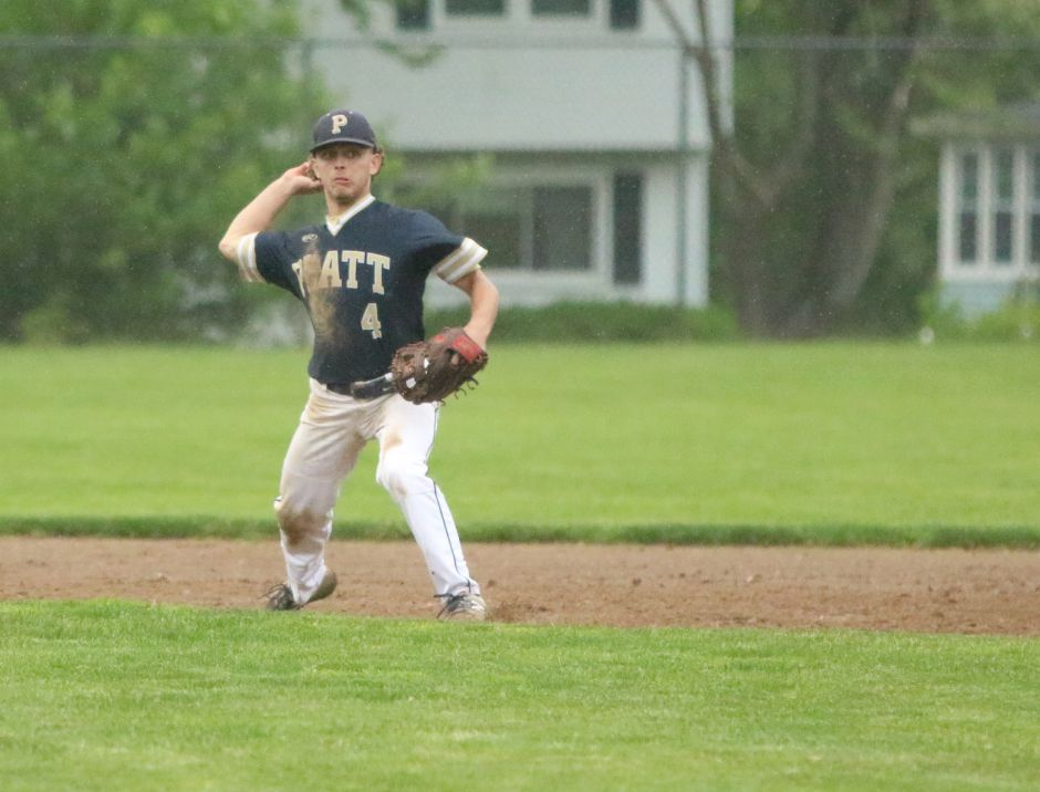 Platt shortstop Jake Baker tosses the ball to first base Tuesday during the Class L first-round game between No. 17 Stratford and the No. 16 Panthers. | Spencer Davis, Record Journal
