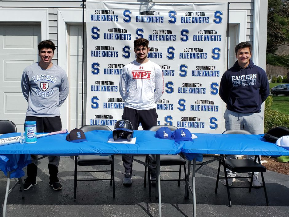 Jack Meade, Jake Delmonte and Kevin McIntyre were among the eight Southington baseball players who sealed their college commitments this week. Meade (left) and McIntyre (right) are both going to Eastern Connecticut. Delmonte (center) is heading to WPI. Photo courtesy of Steve Risser