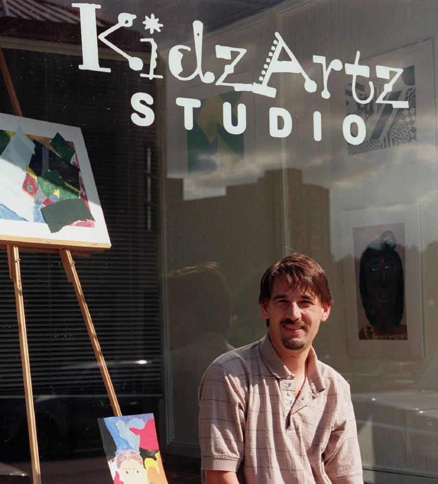 "Steve Van Ness stands outside the new ""Kidz Artz"" Studio at 111 W. Main Street, across the street from the YMCA Sept. 20, 1999. The visual and performing arts program will serve youths ages 8-14 with classes starting Sat., Oct. 2nd."