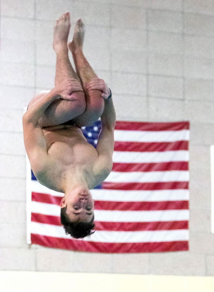 Cheshire junior Noah Duncan compiled an 11-dive score of 377.65 to place second in the SCC Championships. Aaron Flaum, Record-Journal