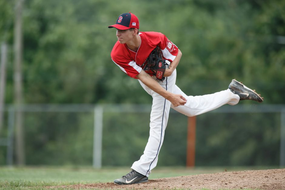 Nick Borkowski worked in and out of trouble Monday night, throwing five scoreless innings in the Southington Shock's 7-0 CCBL victory over the visiting Wallingford Silver Storm at Fontana Field. Record-Journal file photo