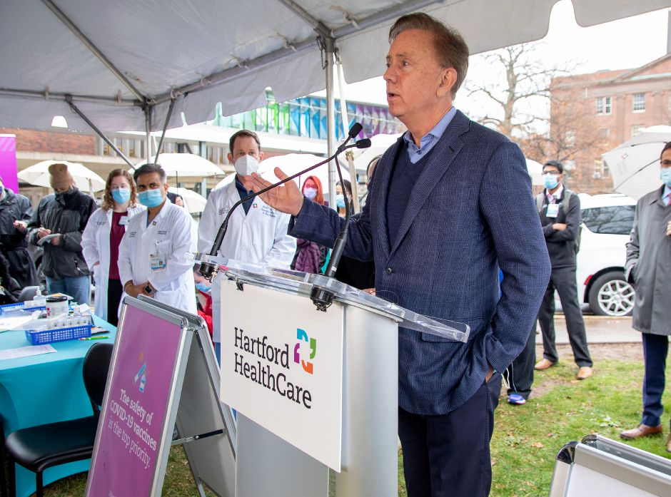 Connecticut Governor Ned Lamont addresses the media about the arrival and distribution of Pfizer BioNTech COVID-19 Vaccine during the first day at Hartford Healthcare on Monday, December 14, 2020. Aaron Flaum, Record-Journal