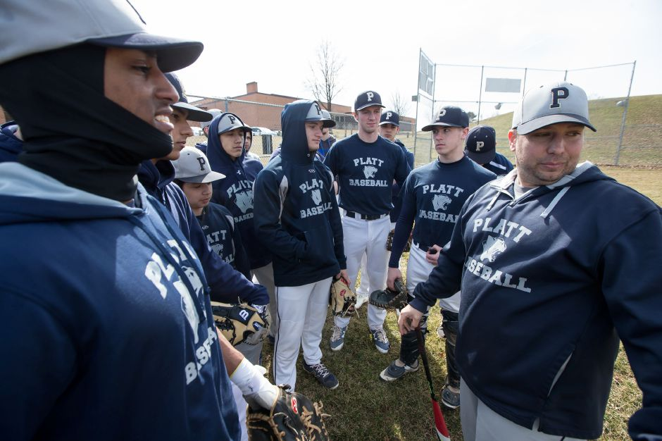 The easing of out-of-season coaching rules announced Thursday by the CIAC Board of Control gives spring coaches like Platt baseball skipper Tim Redican (far right) the opportunity to work with his players through Aug. 17 — online for now, in person if the state re-opens recreational facilities and eases social distancing rules. Record-Journal file photo