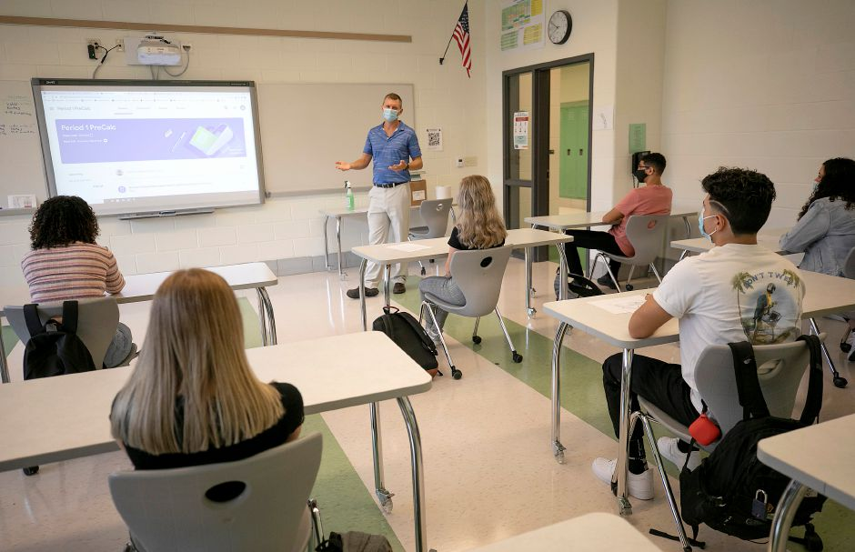 Teacher Michael Torda instructs a math class during the first day of school at Maloney High School in Meriden, Thurs., Sept. 3, 2020. Dave Zajac, Record-Journal