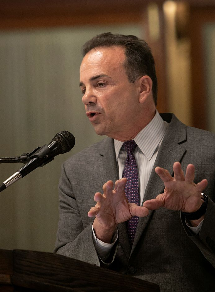 Democrat Joe Ganim speaks during the Central Connecticut Chambers of Commerce Gubernatorial Forum at the Aqua Turf Club in Southington, Thursday, August 9, 2018. Dave Zajac, Record-Journal