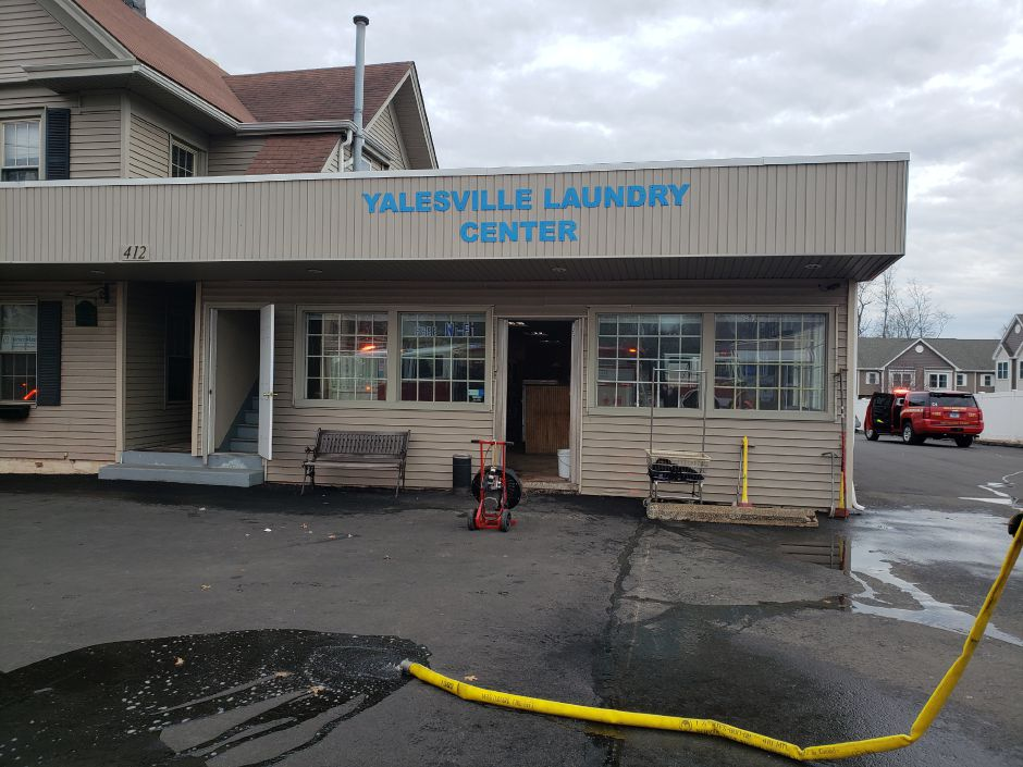 Fire crews at the scene of a dryer fire at Yalesville Laundry Center, 412 Main St., Wallingford on Jan. 14, 2020 (Lauren Sellew | Record-Journal)