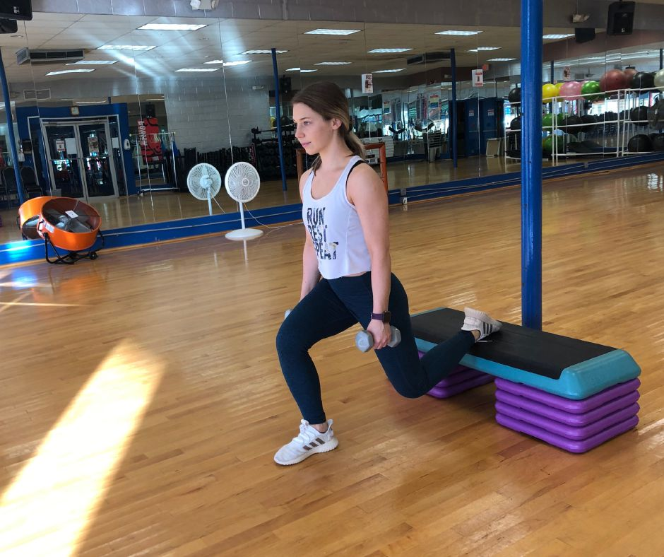 Kristen Dearborn demonstrates a Bulgarian split squat. |Kristen Dearborn, Special to Record-Journal