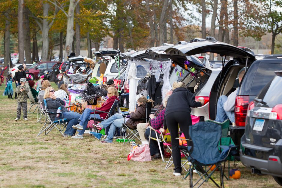 Crowds set up their cars for an evening dinner and trunk or treating before the movie Saturday during the Southington Drive In Halloween Festival at the Drive In in Southington October 28, 2017 | Justin Weekes / For the Record-Journal
