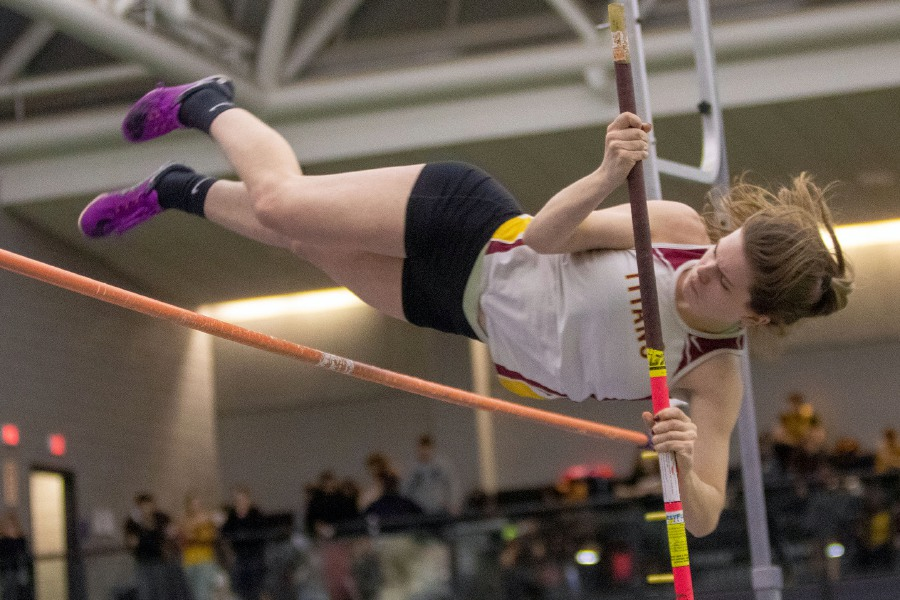 Sheehan's Erin Brennan clears 8 feet 6 inches to win the pole vault during the SCC Eastern Sectional at the Floyd Little Athletic Center in New Haven on Wednesday. The Titans finished first in that event but lost the girls team title by a point to Hillhouse.Aaron Flaum, Record-Journal