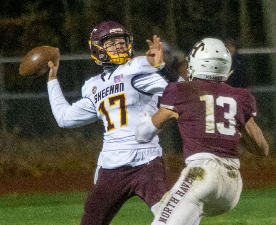 Kyle Simmons hit Jordan Davis in stride with a 64-yard touchdown pass early in the third quarter to help propel Sheehan past Ansonia 30-22 and into the Class S state championship game. |  Aaron Flaum, Record-Journal