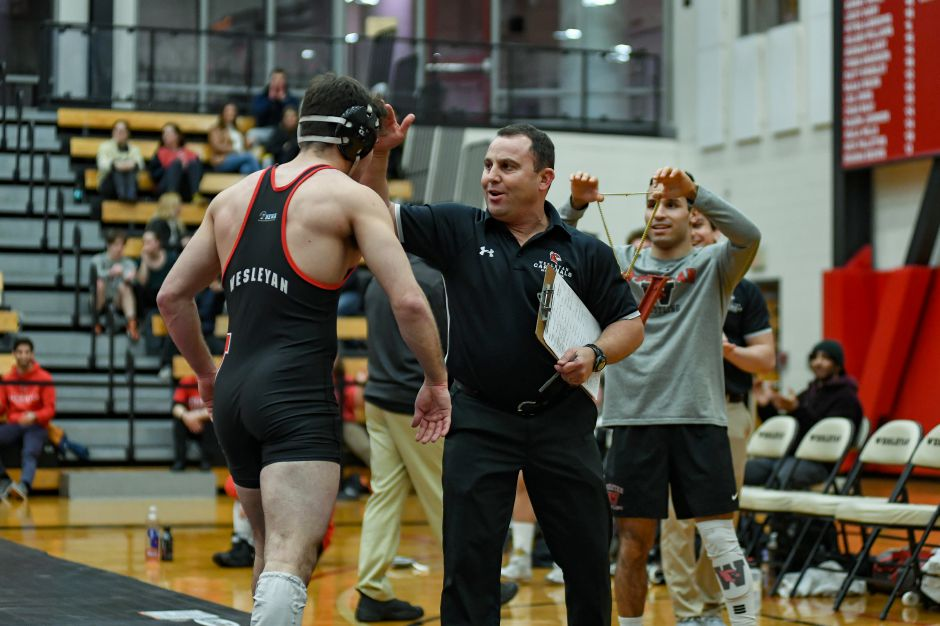 Cheshire's Drew Black, head coach of Wesleyan wrestling since 1998, has been selected for the Connecticut Chapter of the National Wrestling Hall of Fame. He will be inducted in the Class of 2022 along with veteran Platt High School head coach Bryan McCarty of Meriden. Photo courtesy of Drew Black
