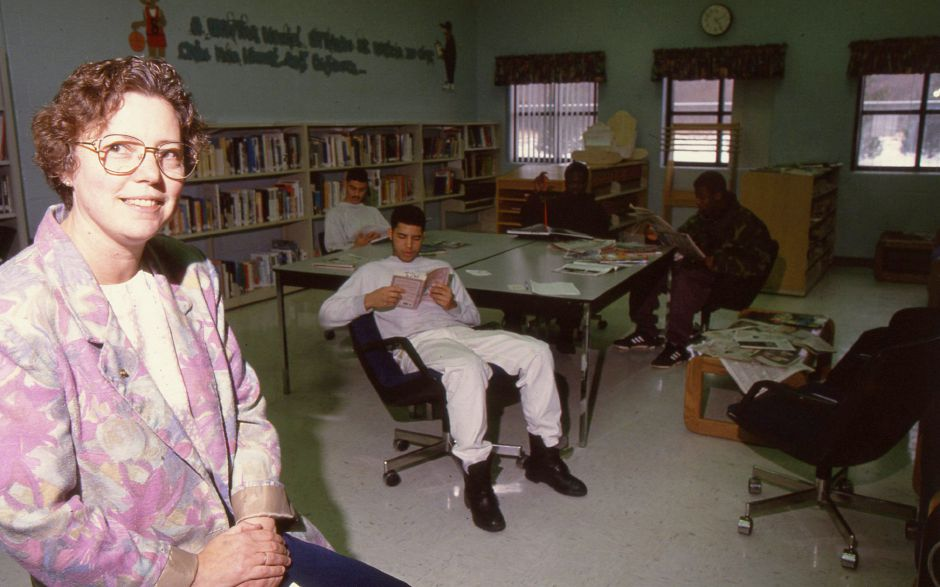 RJ file photo - Maloney Correctional Institution in Cheshire librarian Candace Hall, March 1994.
