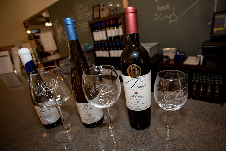 Priam Vineyards in Colchester offers a few wine tasting options and different wine glasses to go with them, Aug. 16, 2018. | Richie Rathsack, Record-Journal
