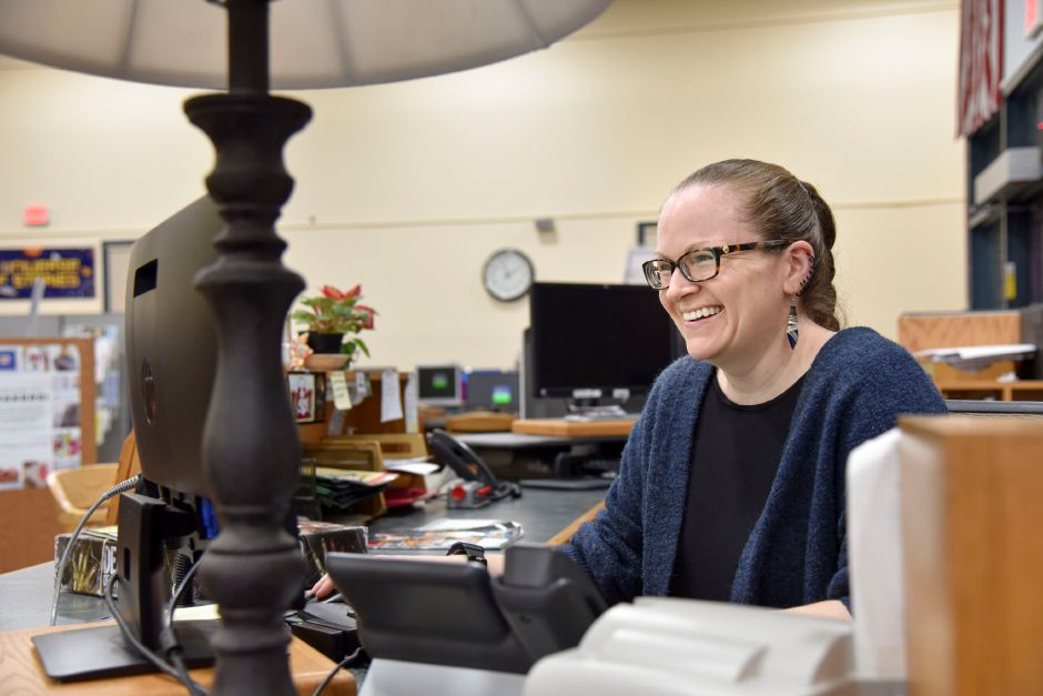 Teen and reference librarian Nicole Kent doing work on a computer at the Southington Public Library, 255 Main St., on Monday, Dec. 30, 2019. The town is looking to build a new, larger library to accomodate growing needs. | Bailey Wright, Record-Journal