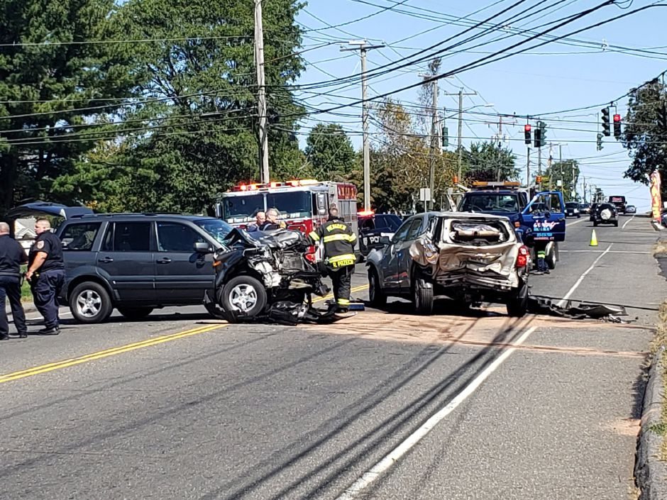 One driver was injured in a crash on Broad Street,, Thursday, Sept. 19, 2019. |Lauren Sellew, Record-Journal