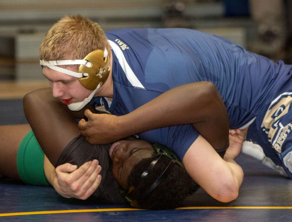 Platt senior Luke Fuerstenberg won the heavyweight championship in the small-school division at Saturday's CCC conference wrestling tournament at Simsbury. Along the way, he set a new Platt record for pins in a season with 30. In the finals, Fuerstenberg won 4-2 in overtime. | Aaron Flaum, Record-Journal