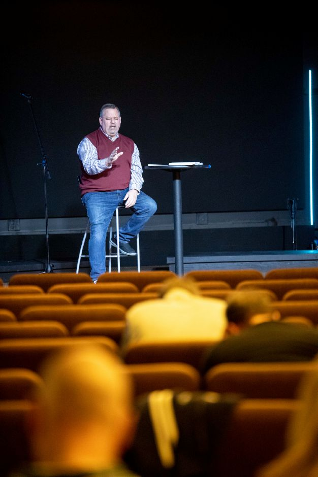 Pastor Will Marotti, of New Life Church in Wallingford, gives his sermon on March 15, 2020. The church asked all non-staff members to stay home and watch a live stream of the Sunday service to help stanch the spread of the coronavirus. | Devin Leith-Yessian/Record-Journal