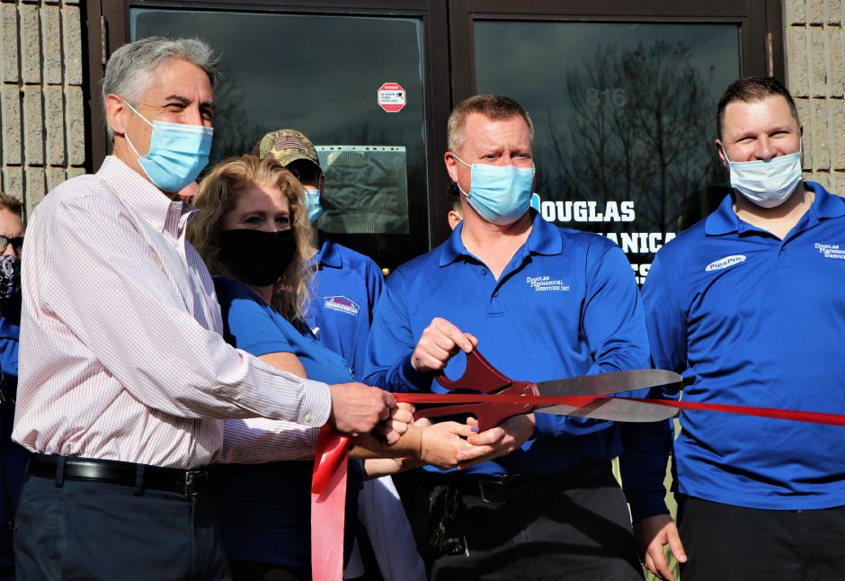 Douglas Mechanical Services celebrated its expansion on March 7, 2021. The Berlin business offers heating, air conditioning, ventilation, and remodeling services and now produces its own sheet metal | Nadya Korytnikova, Record-Journal.